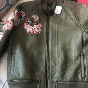 Joe's Jeans Leather Jacket with floral embroidery
